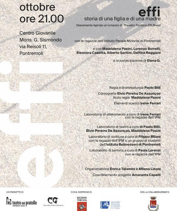 EFFI spettacolo dell'IPM di Pontremoli, 17-18-19 ottobre